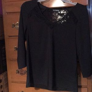 Black 3/4 Sleeve Blouse with Lace